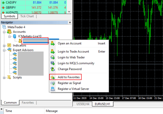 MetaTrader Broker Account Add to Favorites 01 - Preparing for a Forex VPS Failure